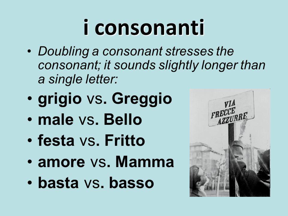 i consonanti grigio vs. Greggio male vs. Bello festa vs. Fritto