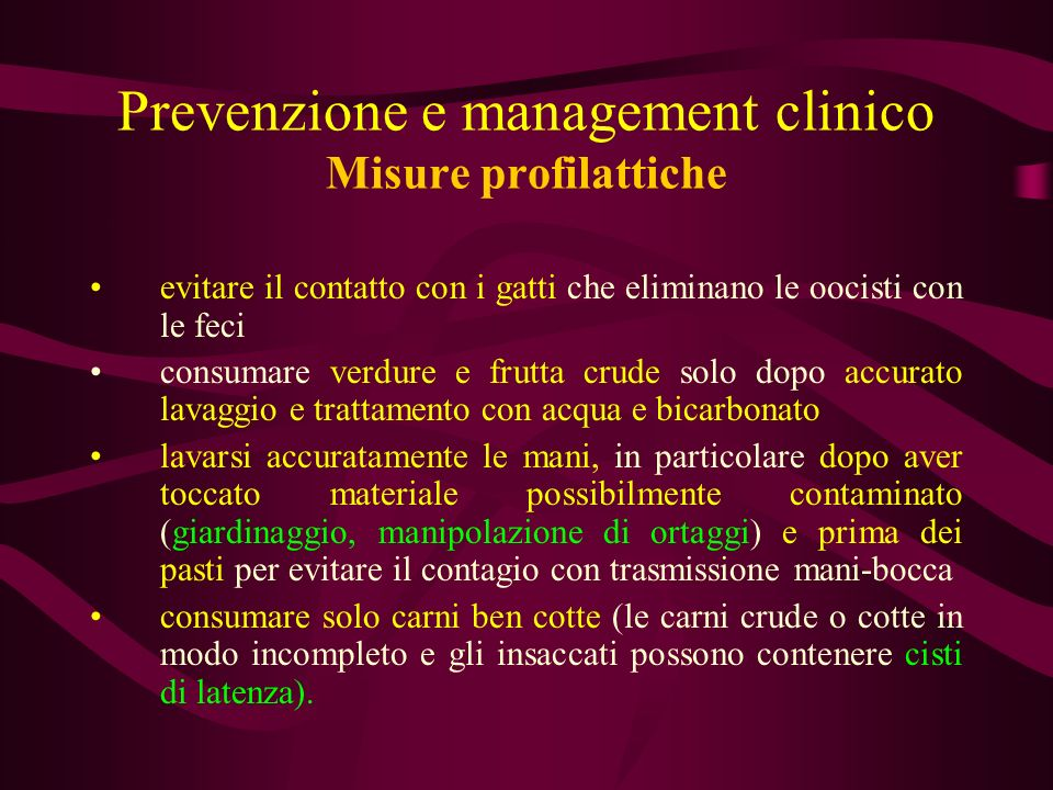 Prevenzione e management clinico Misure profilattiche