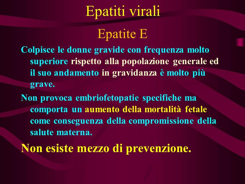 Epatiti virali Epatite E Non esiste mezzo di prevenzione.