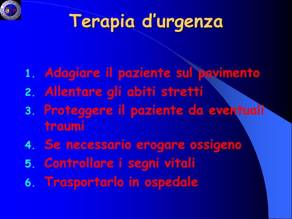 Terapia d'urgenza Adagiare il paziente sul pavimento