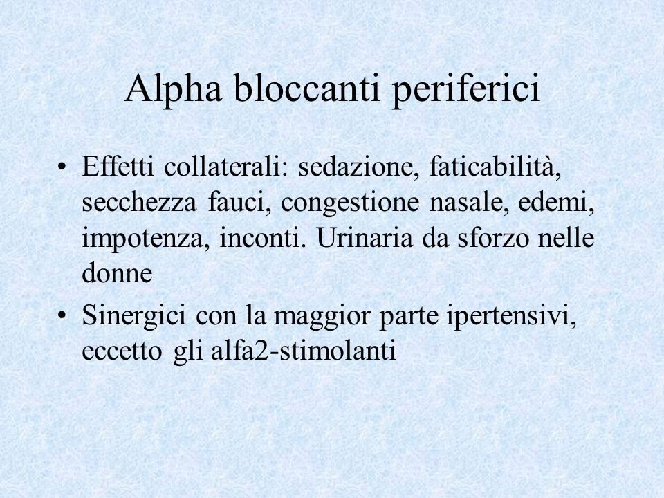 Alpha bloccanti periferici