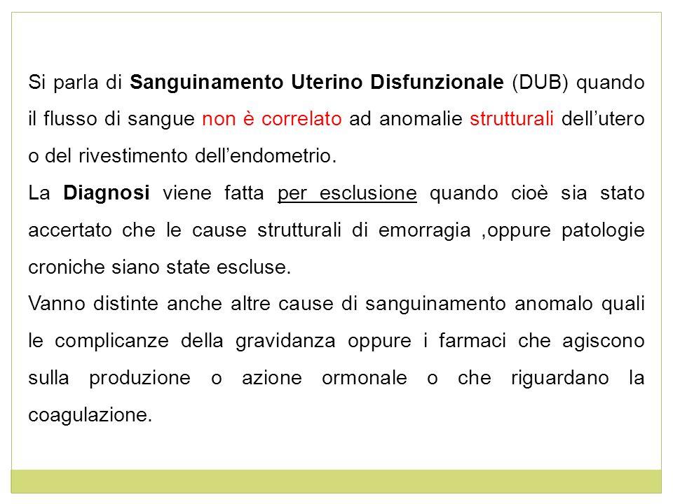Si parla di Sanguinamento Uterino Disfunzionale (DUB) quando il flusso di sangue non è correlato ad anomalie strutturali dell'utero o del rivestimento dell'endometrio.