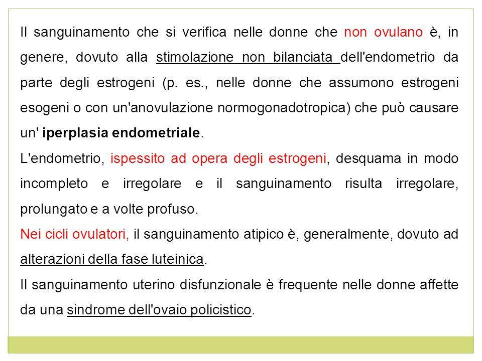 Il sanguinamento che si verifica nelle donne che non ovulano è, in genere, dovuto alla stimolazione non bilanciata dell endometrio da parte degli estrogeni (p. es., nelle donne che assumono estrogeni esogeni o con un anovulazione normogonadotropica) che può causare un iperplasia endometriale.