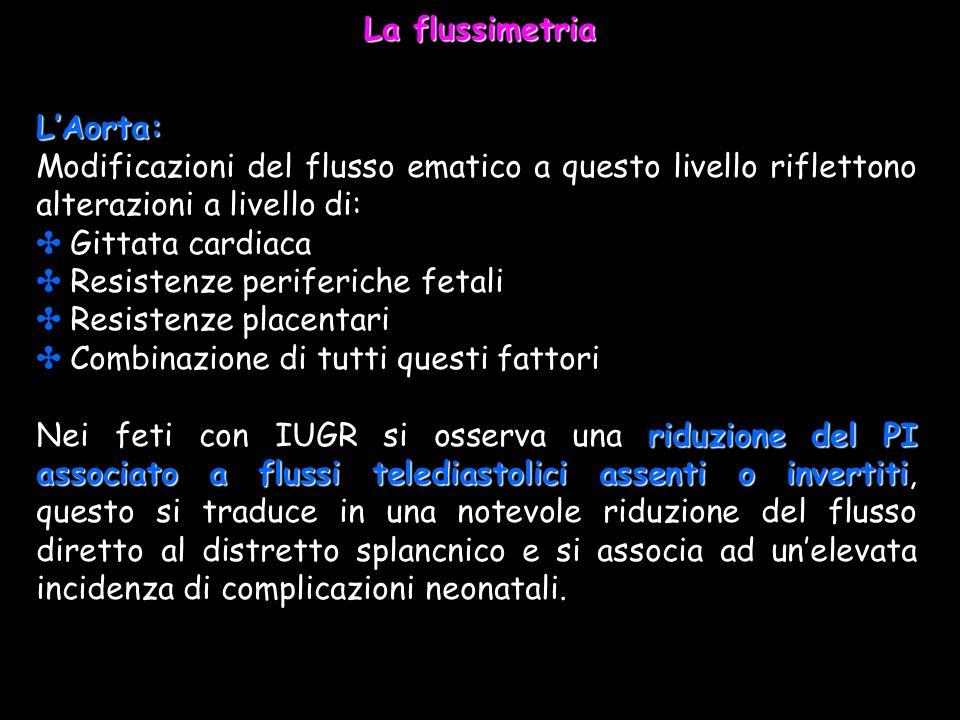 La flussimetria L'Aorta: Modificazioni del flusso ematico a questo livello riflettono alterazioni a livello di:
