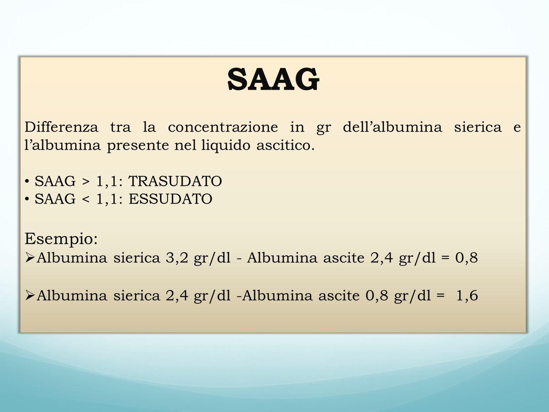 SAAG Differenza tra la concentrazione in gr dell'albumina sierica e l'albumina presente nel liquido ascitico.
