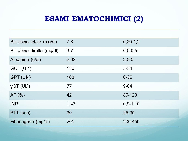 ESAMI EMATOCHIMICI (2) Bilirubina totale (mg/dl) 7,8 0,20-1,2