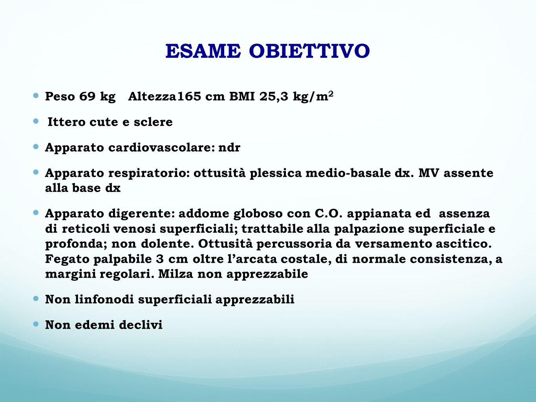 ESAME OBIETTIVO Peso 69 kg Altezza165 cm BMI 25,3 kg/m2