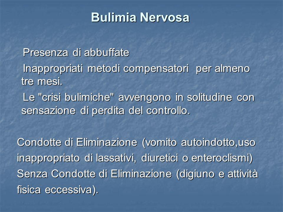 Bulimia Nervosa Presenza di abbuffate