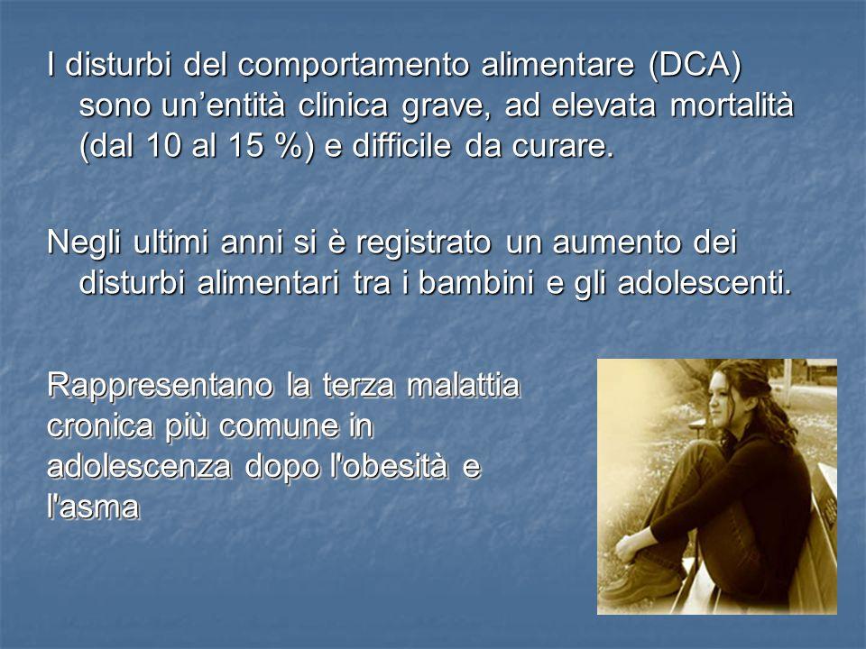 I disturbi del comportamento alimentare (DCA) sono un'entità clinica grave, ad elevata mortalità (dal 10 al 15 %) e difficile da curare.
