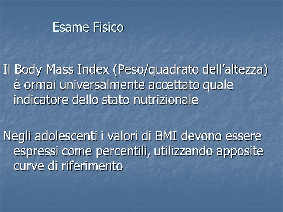Esame Fisico Il Body Mass Index (Peso/quadrato dell'altezza) è ormai universalmente accettato quale indicatore dello stato nutrizionale.