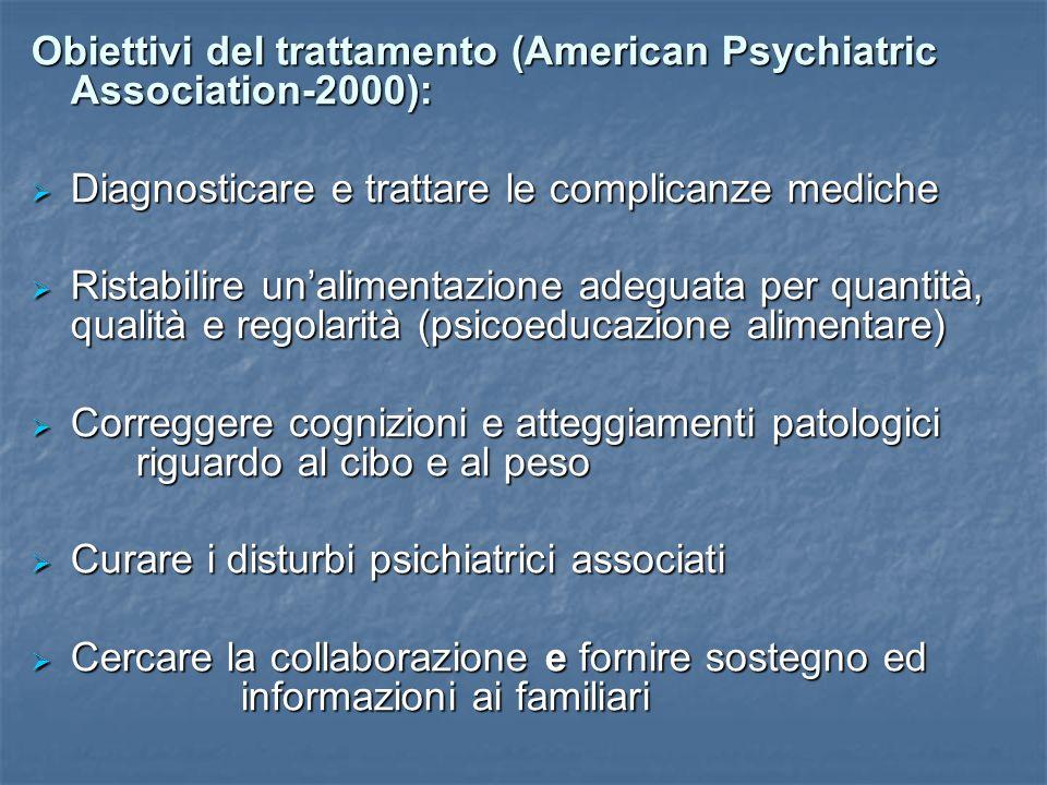 Obiettivi del trattamento (American Psychiatric Association-2000):