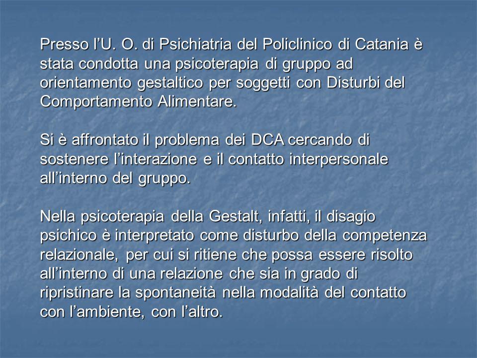 Presso l'U. O. di Psichiatria del Policlinico di Catania è stata condotta una psicoterapia di gruppo ad orientamento gestaltico per soggetti con Disturbi del Comportamento Alimentare.