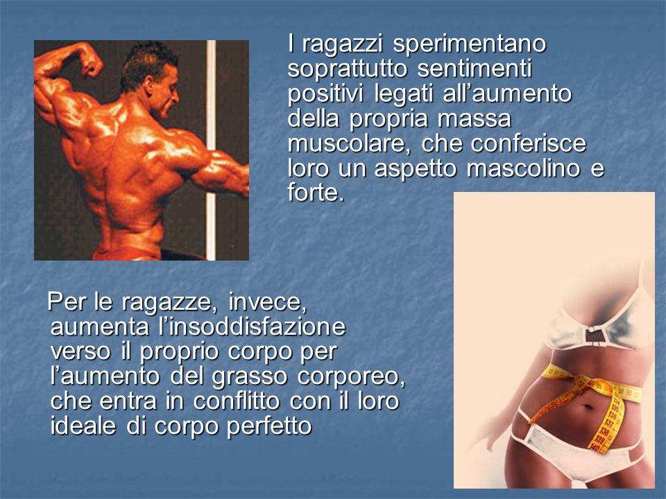 I ragazzi sperimentano soprattutto sentimenti positivi legati all'aumento della propria massa muscolare, che conferisce loro un aspetto mascolino e forte.