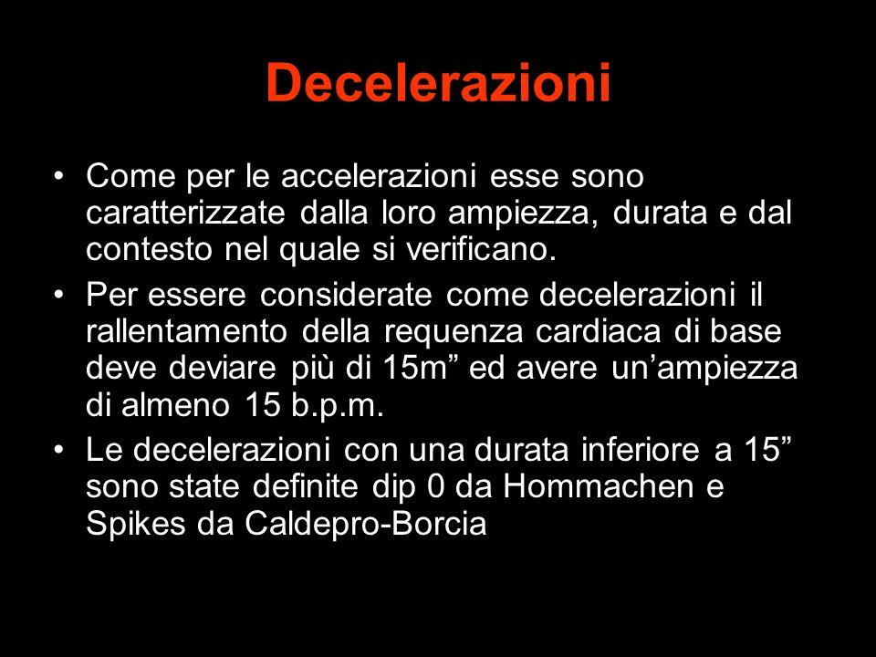 Decelerazioni Come per le accelerazioni esse sono caratterizzate dalla loro ampiezza, durata e dal contesto nel quale si verificano.