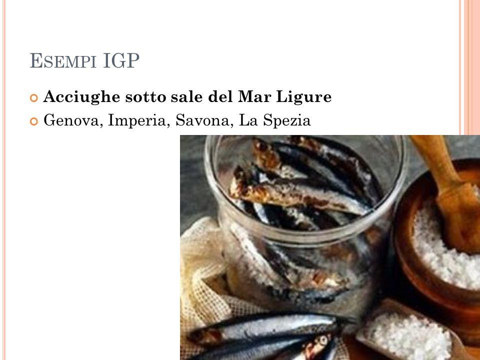 Esempi IGP Acciughe sotto sale del Mar Ligure