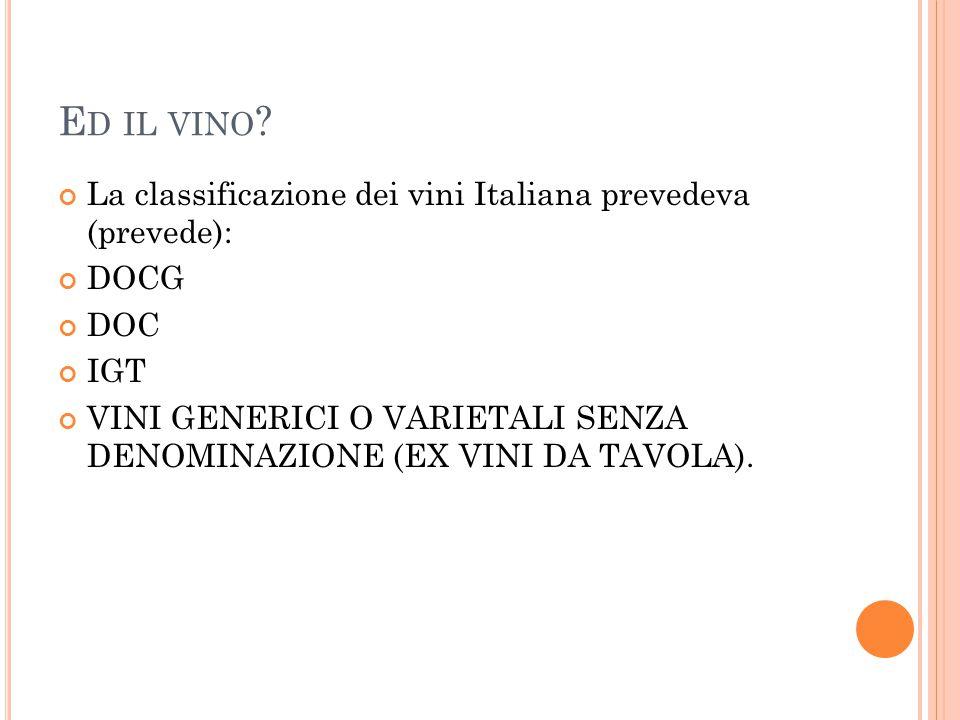 Ed il vino La classificazione dei vini Italiana prevedeva (prevede):