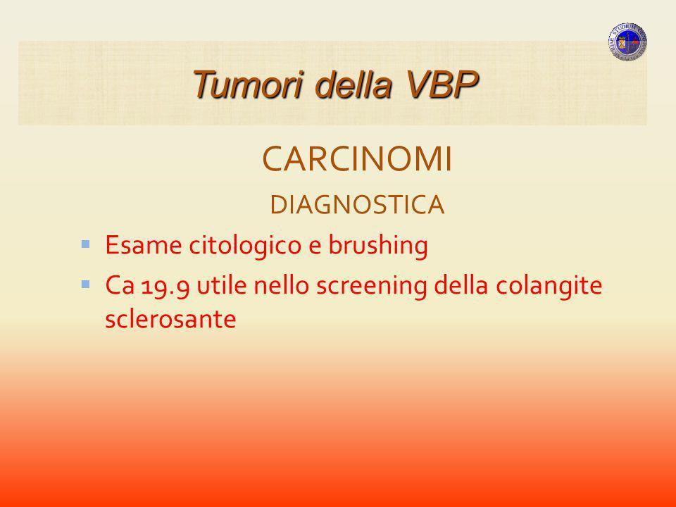 Tumori della VBP CARCINOMI DIAGNOSTICA Esame citologico e brushing