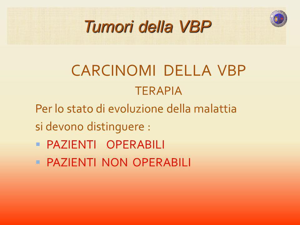 Tumori della VBP CARCINOMI DELLA VBP TERAPIA
