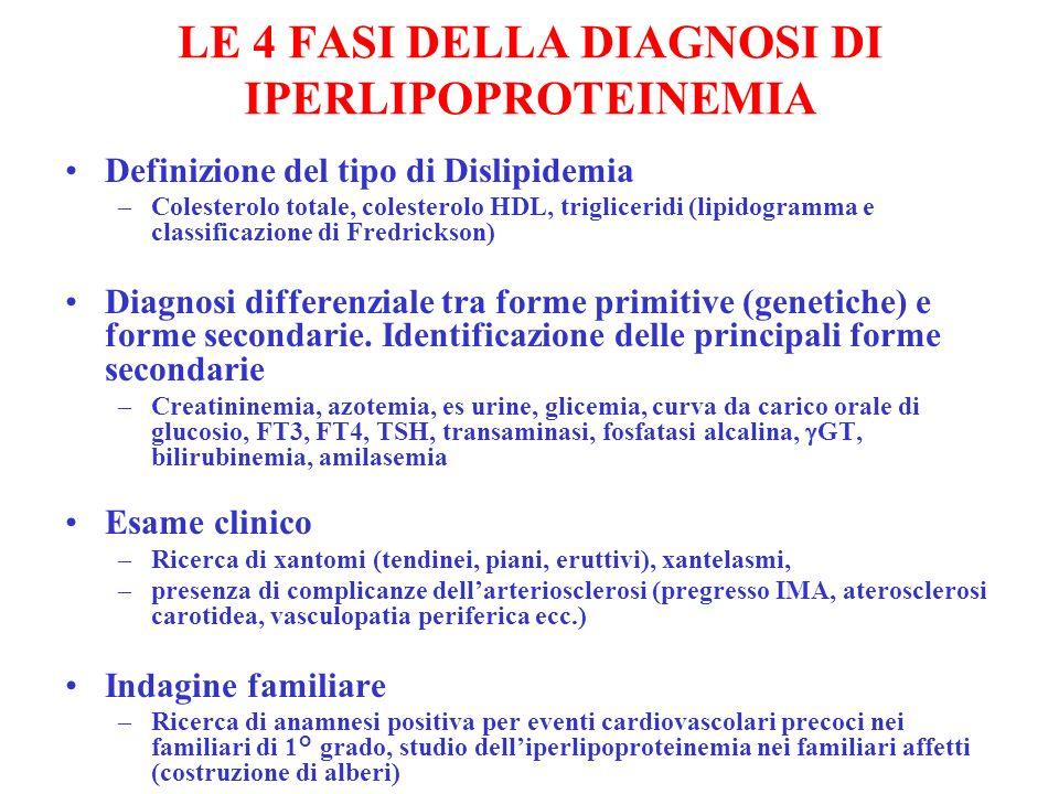 LE 4 FASI DELLA DIAGNOSI DI IPERLIPOPROTEINEMIA