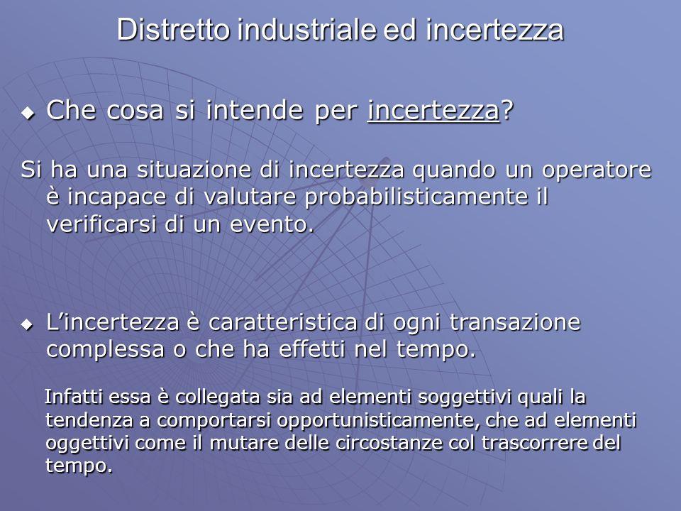Distretto industriale ed incertezza