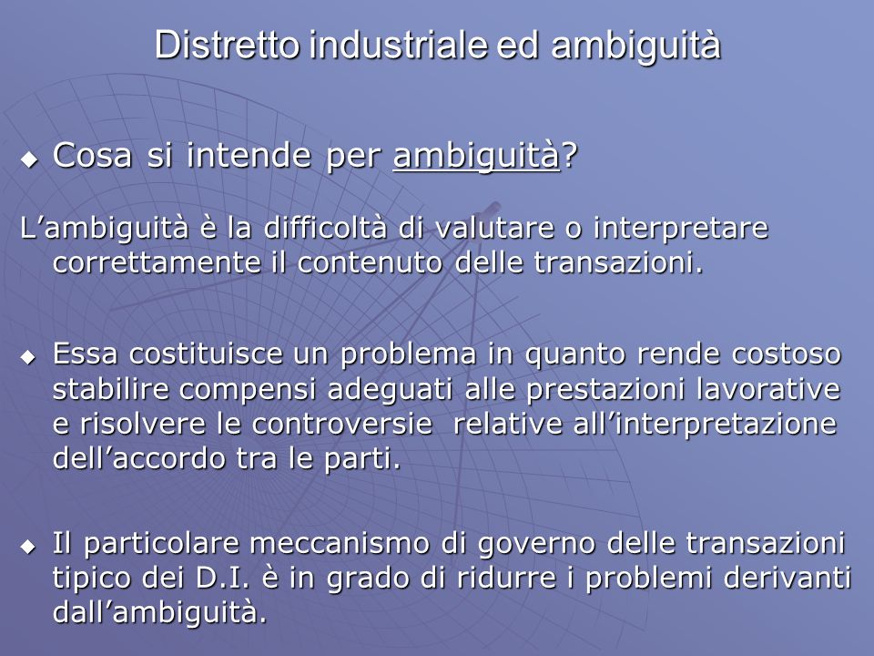 Distretto industriale ed ambiguità