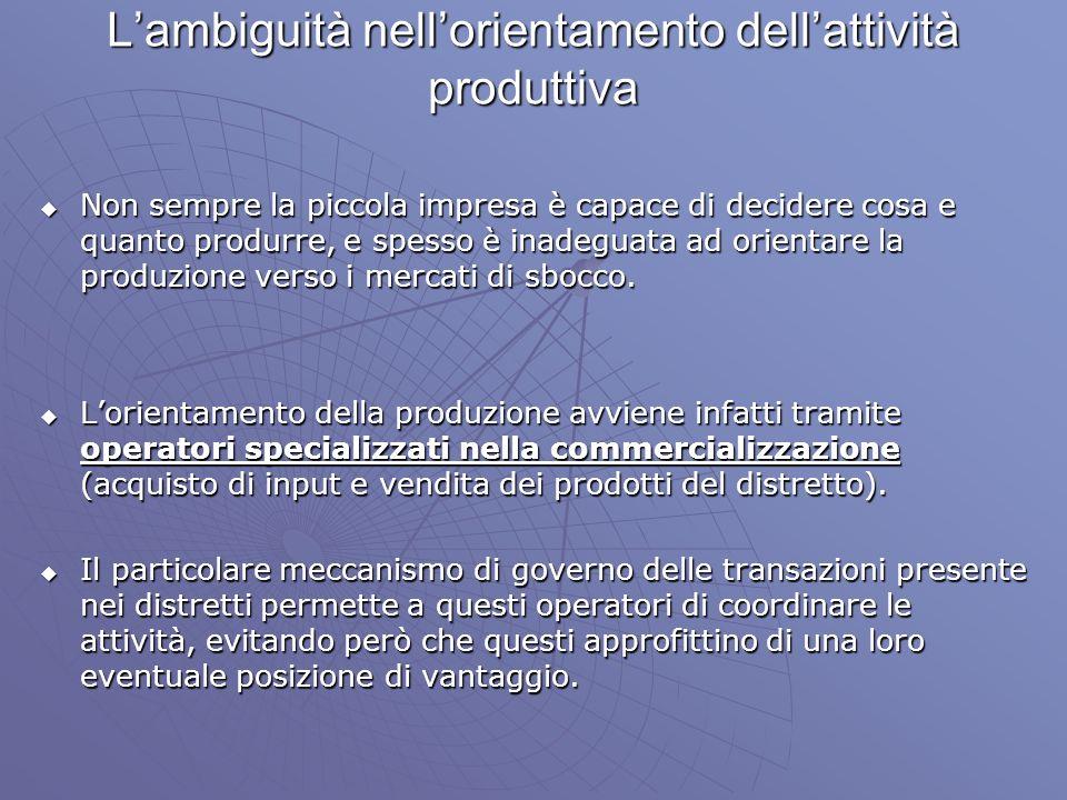 L'ambiguità nell'orientamento dell'attività produttiva