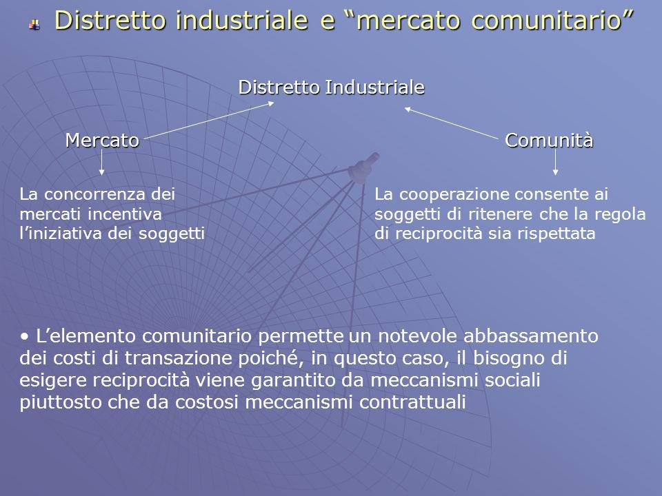 Distretto industriale e mercato comunitario