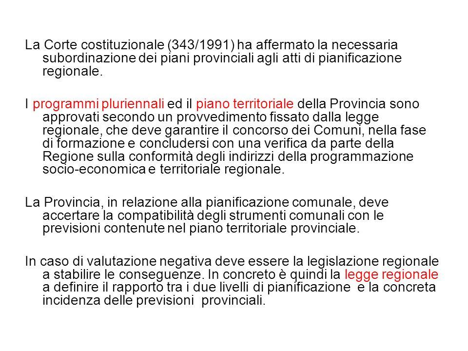 La Corte costituzionale (343/1991) ha affermato la necessaria subordinazione dei piani provinciali agli atti di pianificazione regionale.