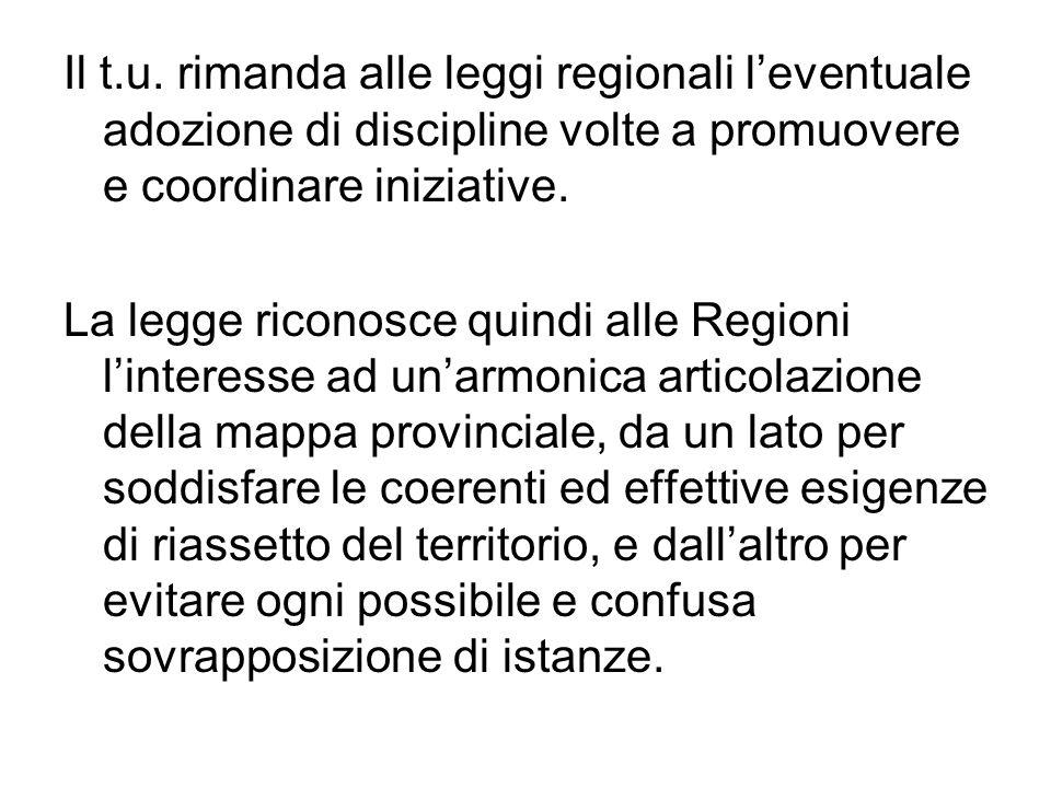 Il t.u. rimanda alle leggi regionali l'eventuale adozione di discipline volte a promuovere e coordinare iniziative.
