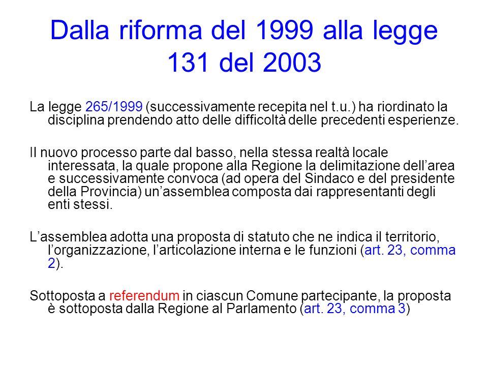 Dalla riforma del 1999 alla legge 131 del 2003