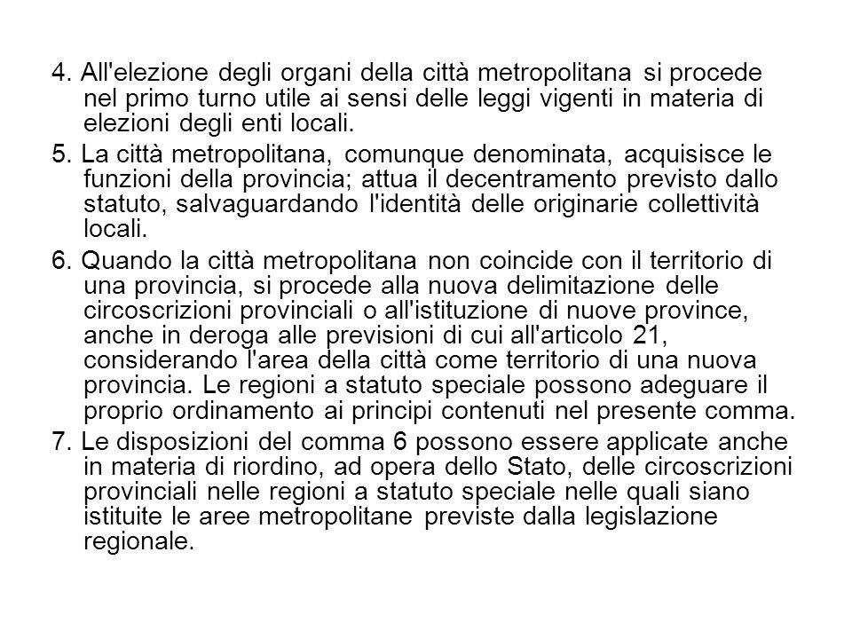 4. All elezione degli organi della città metropolitana si procede nel primo turno utile ai sensi delle leggi vigenti in materia di elezioni degli enti locali.