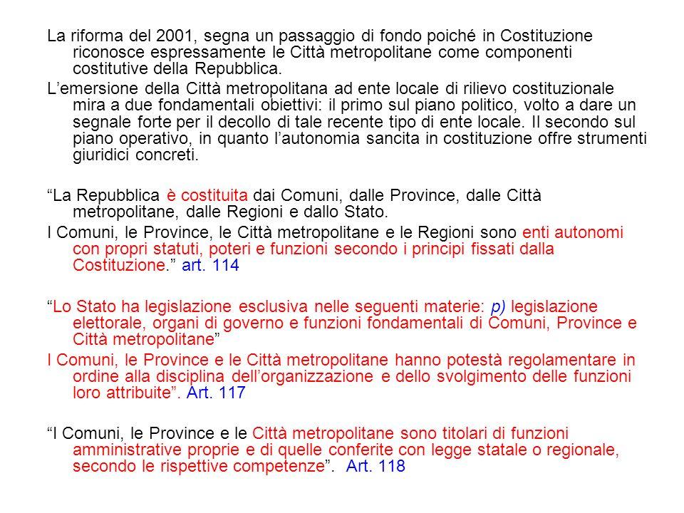 La riforma del 2001, segna un passaggio di fondo poiché in Costituzione riconosce espressamente le Città metropolitane come componenti costitutive della Repubblica.