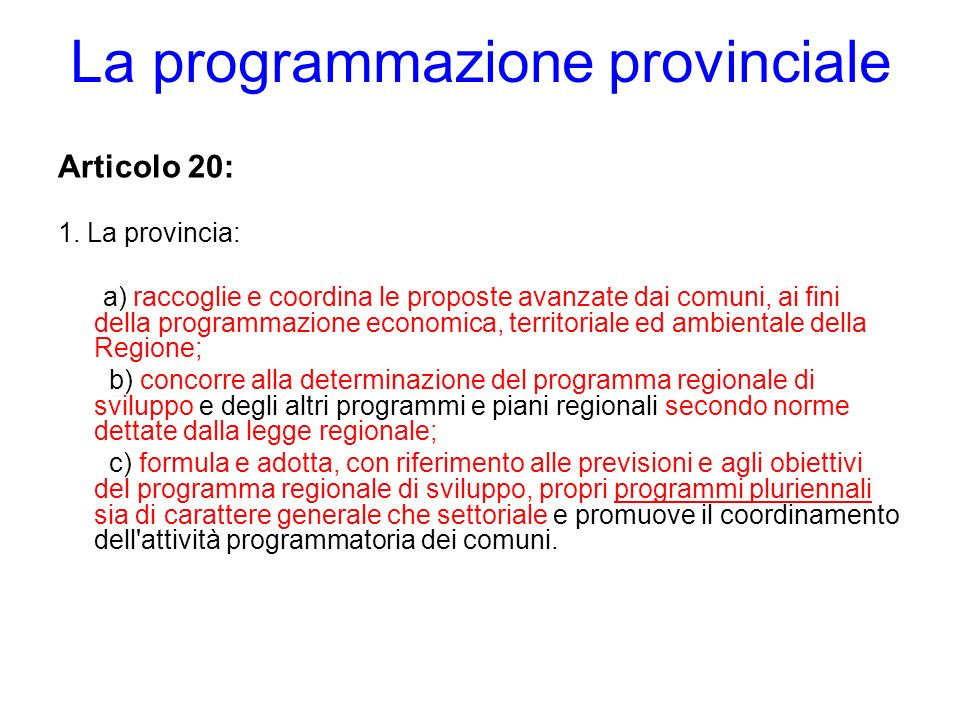 La programmazione provinciale