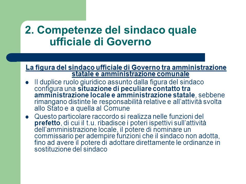 2. Competenze del sindaco quale ufficiale di Governo