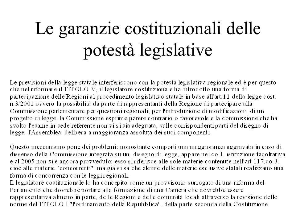 Le garanzie costituzionali delle potestà legislative