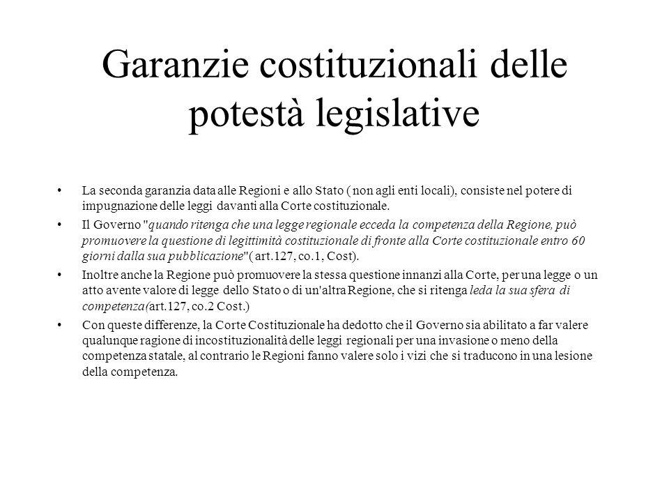 Garanzie costituzionali delle potestà legislative