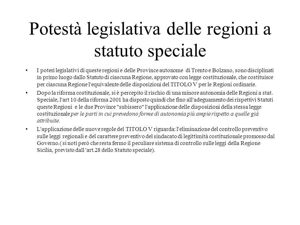 Potestà legislativa delle regioni a statuto speciale