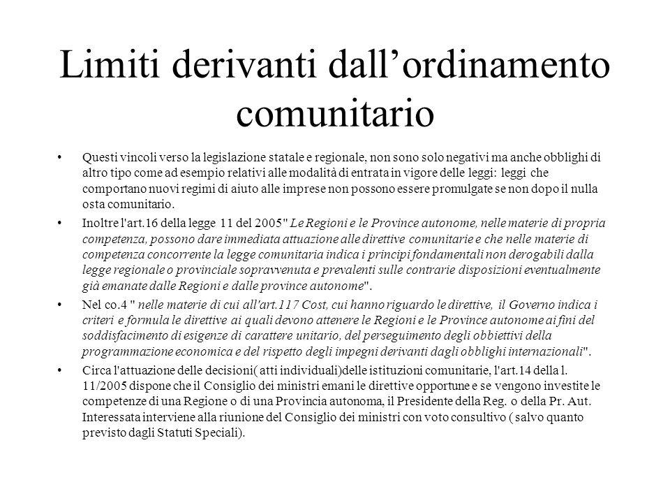 Limiti derivanti dall'ordinamento comunitario