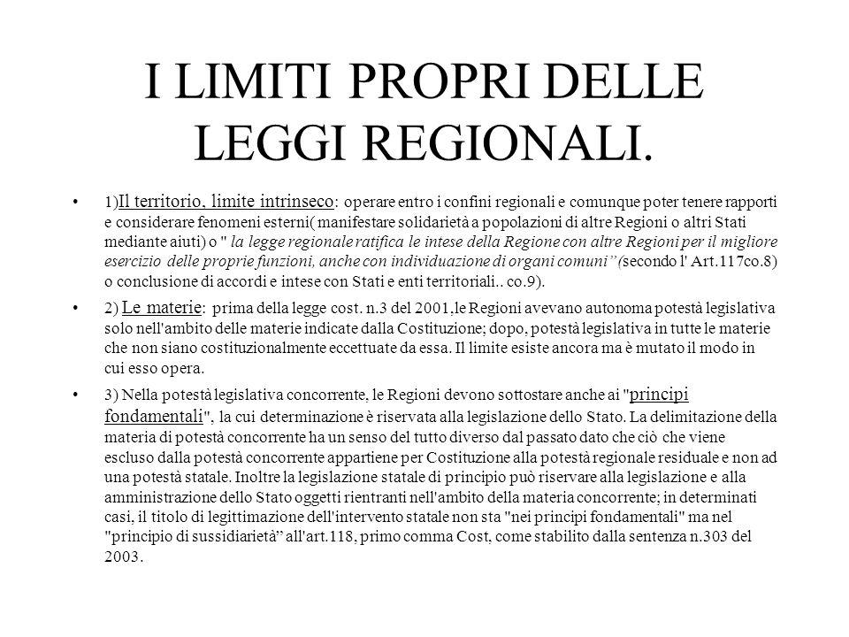 I LIMITI PROPRI DELLE LEGGI REGIONALI.
