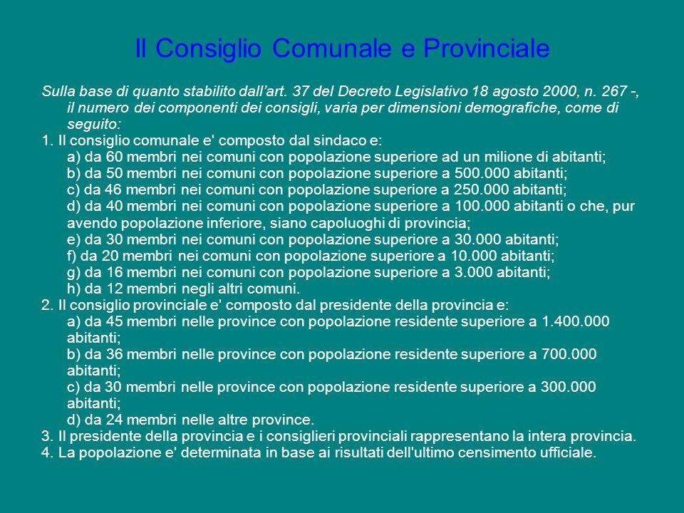 Il Consiglio Comunale e Provinciale