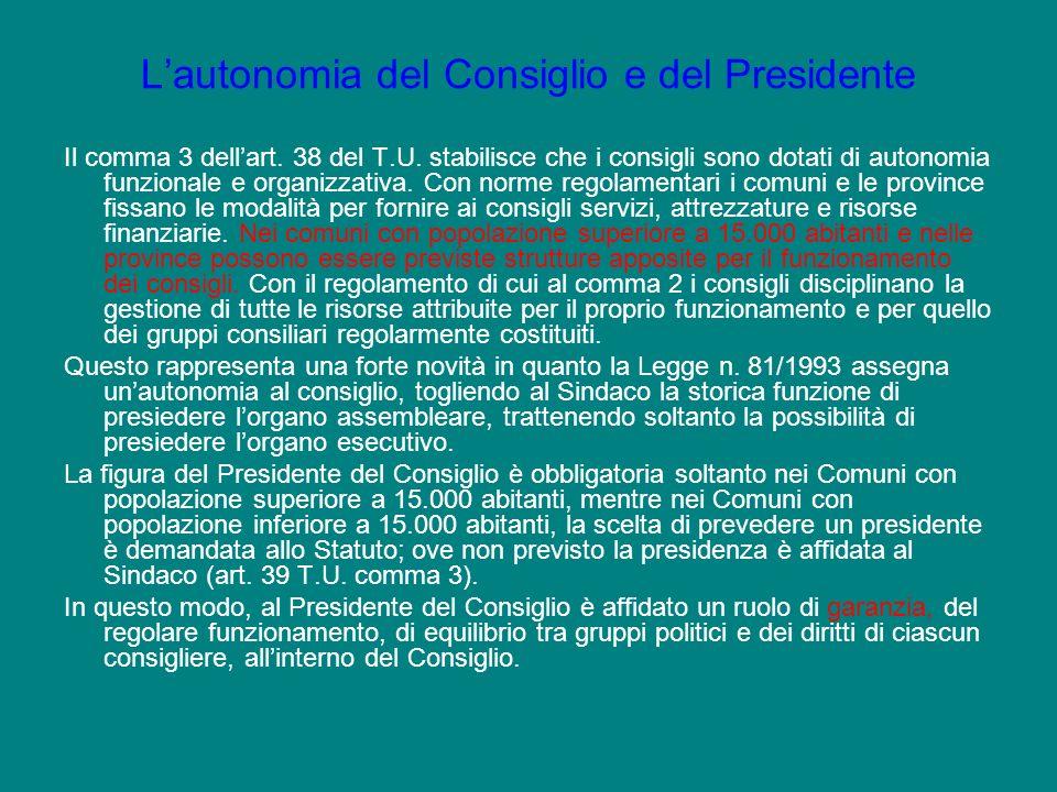 L'autonomia del Consiglio e del Presidente