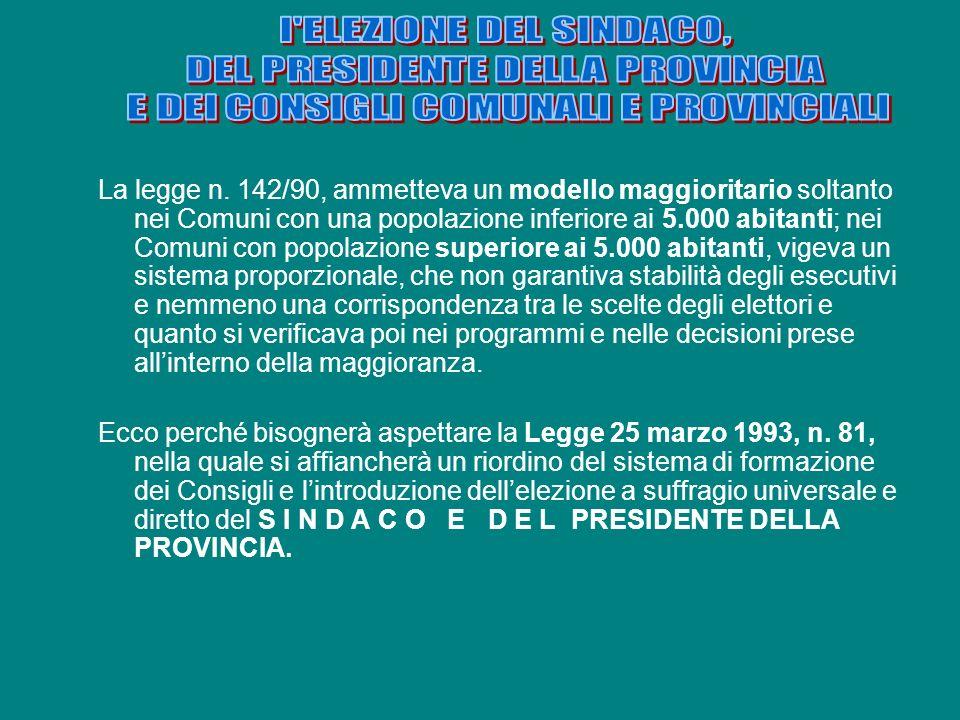 l ELEZIONE DEL SINDACO, DEL PRESIDENTE DELLA PROVINCIA. E DEI CONSIGLI COMUNALI E PROVINCIALI.