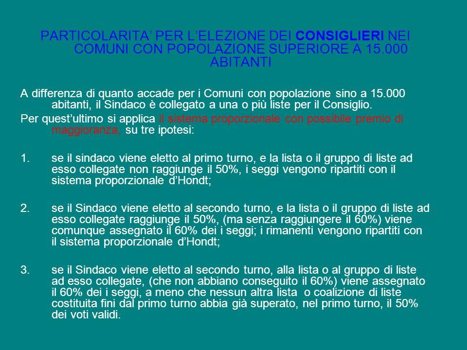 PARTICOLARITA' PER L'ELEZIONE DEI CONSIGLIERI NEI COMUNI CON POPOLAZIONE SUPERIORE A 15.000 ABITANTI