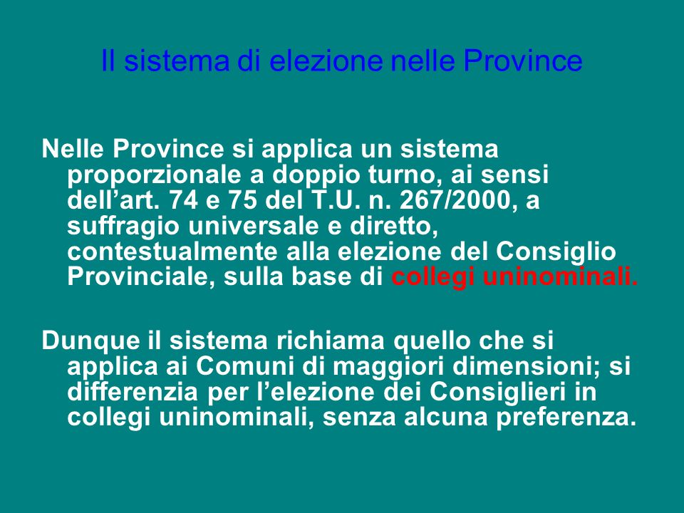 Il sistema di elezione nelle Province