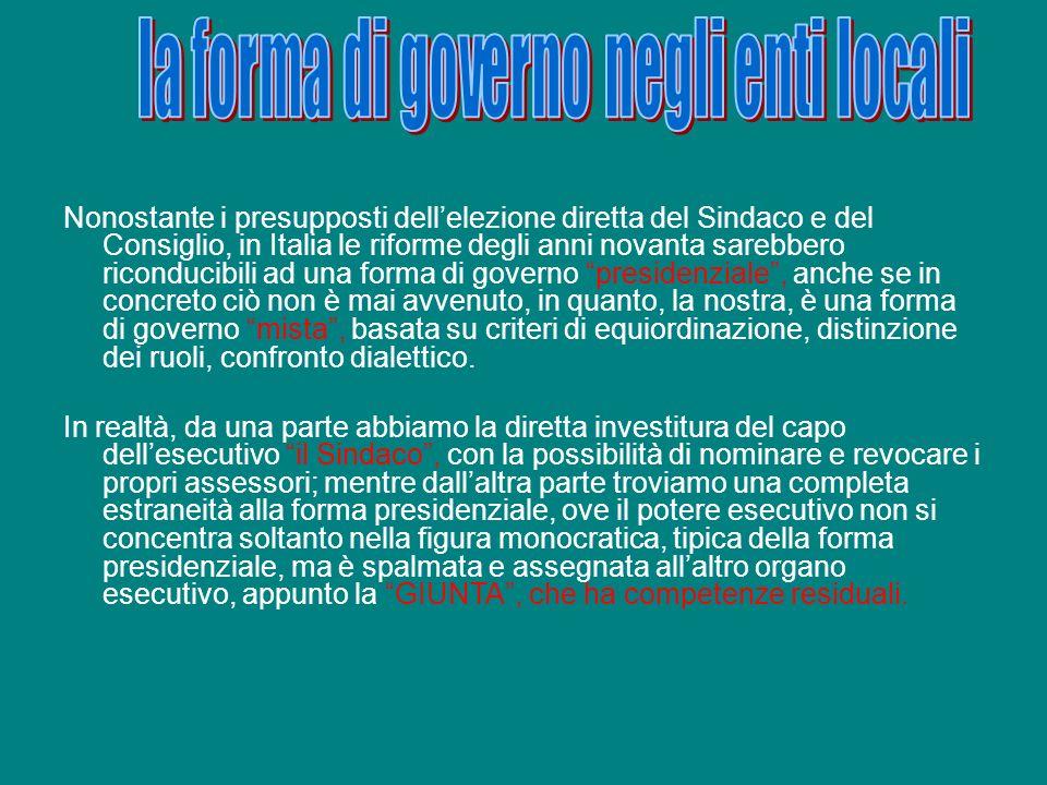 la forma di governo negli enti locali