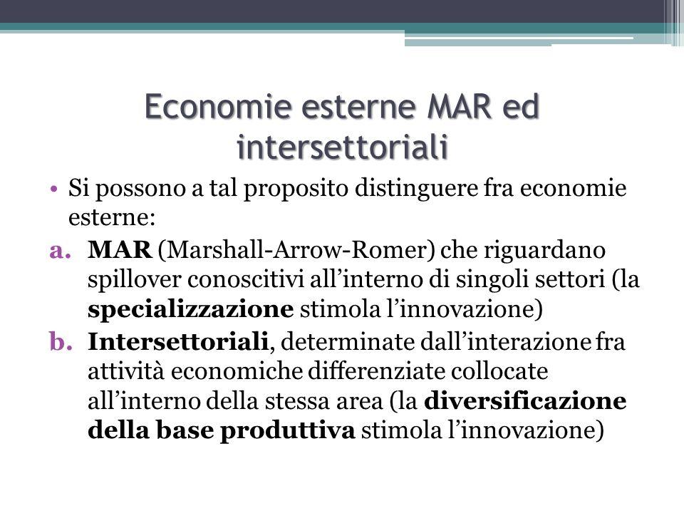 Economie esterne MAR ed intersettoriali