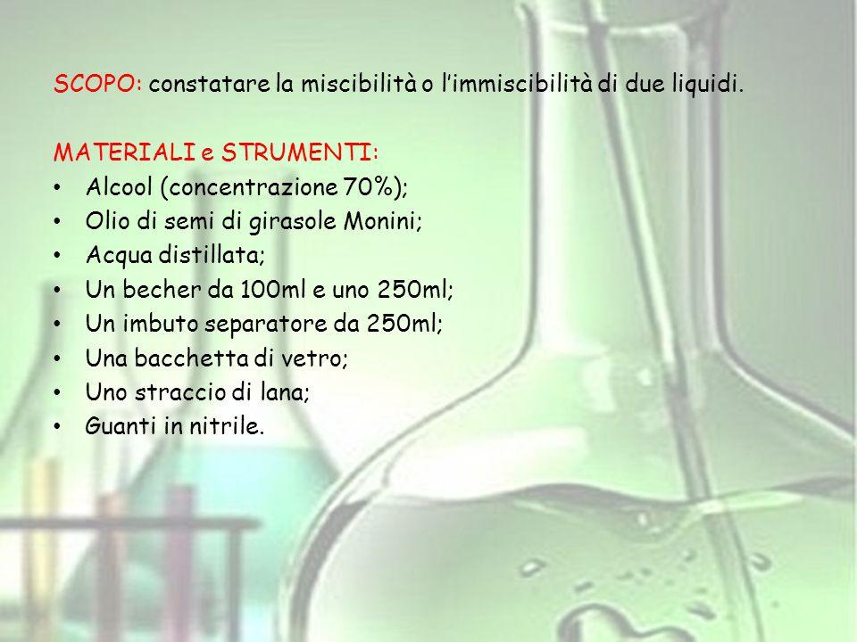 SCOPO: constatare la miscibilità o l'immiscibilità di due liquidi.