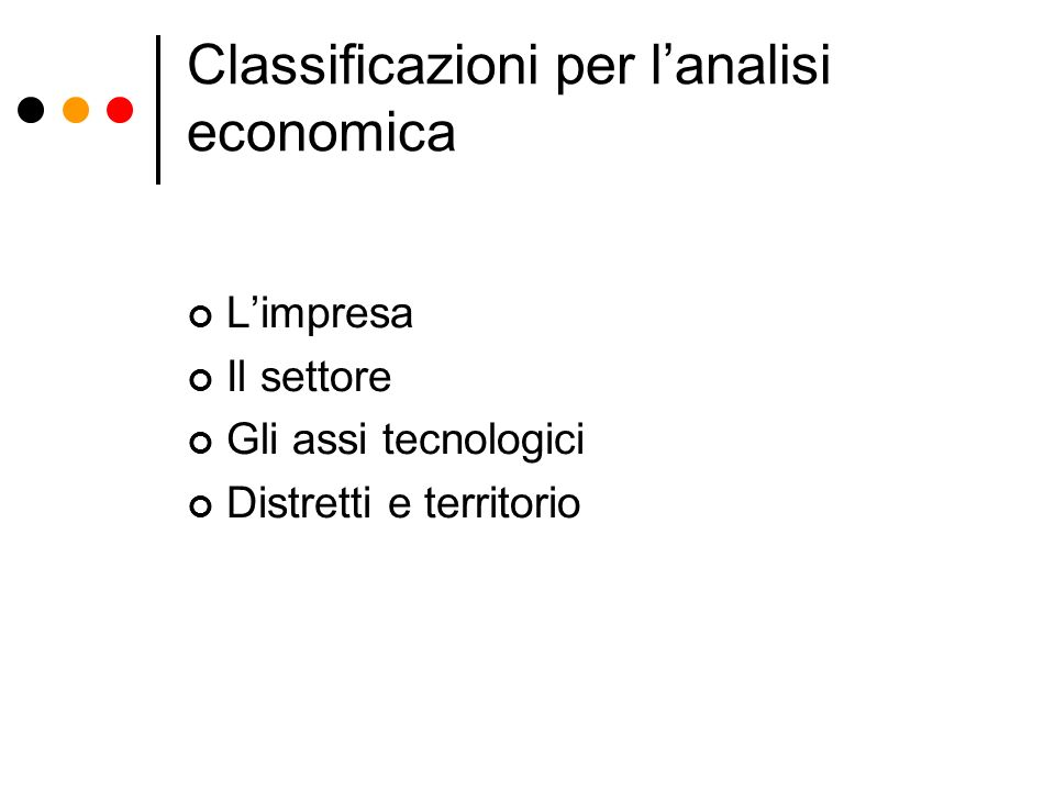 Classificazioni per l'analisi economica