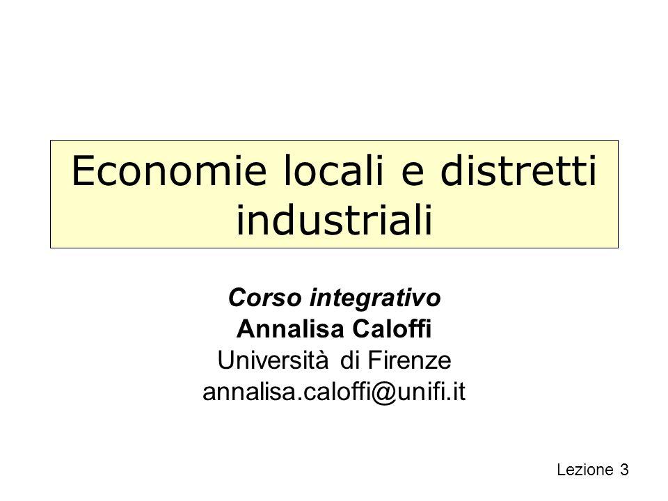 Economie locali e distretti industriali