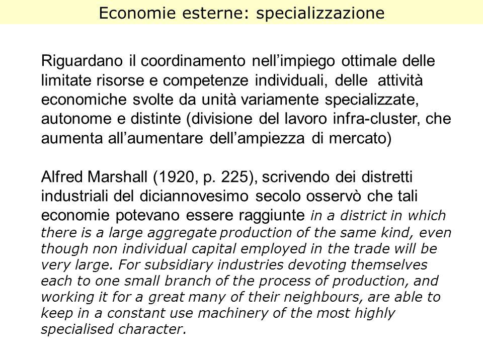 Economie esterne: specializzazione